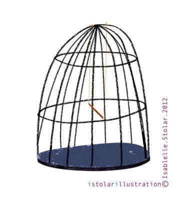 illustration, cage, bird