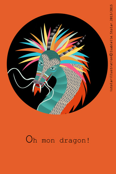 carte dragon rond orange