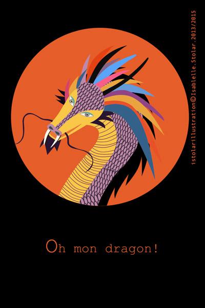 dragon rond noir