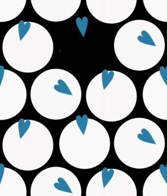 pattern coeur rond  bleu