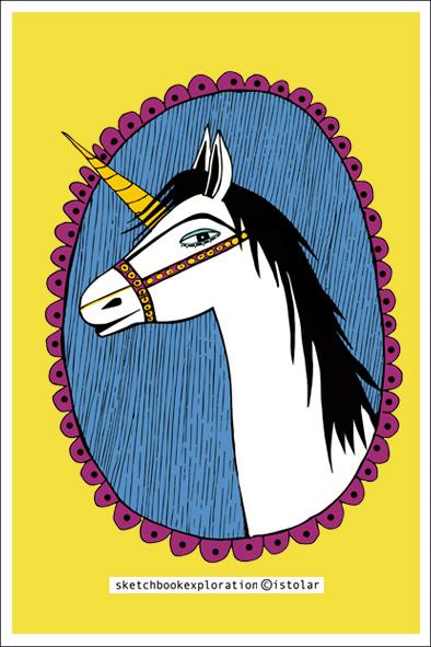 carte licorne jaune