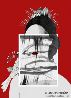femme maison  collage rouge bis